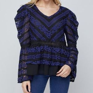 Lumie Lace Bell Sleeve Top in Blue and Black